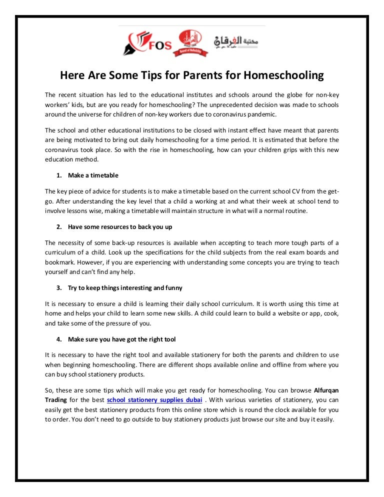 Here are some tips for parents for homeschooling