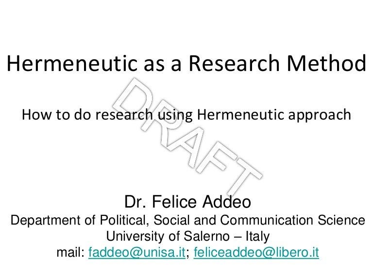 Hermeneutic as a Research Method