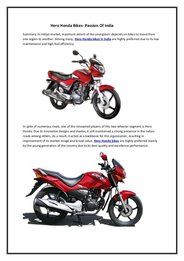 Hero Honda Bikes Passion Of India Front View In