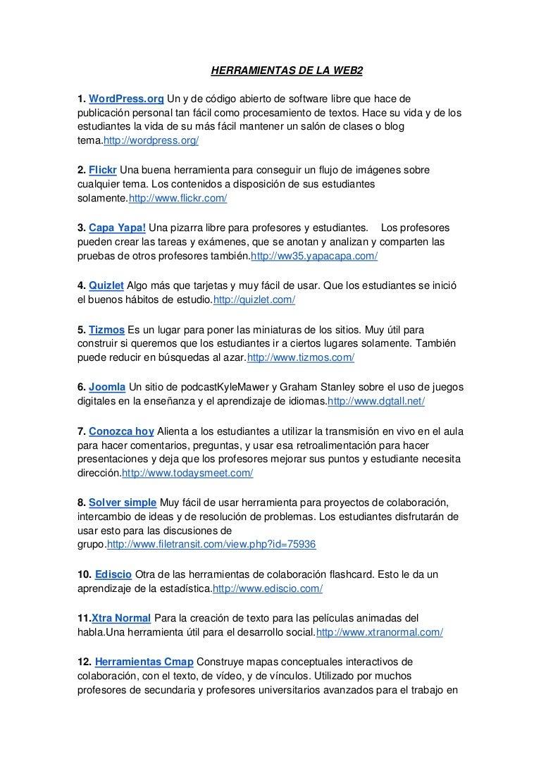 Herramientas de la web2