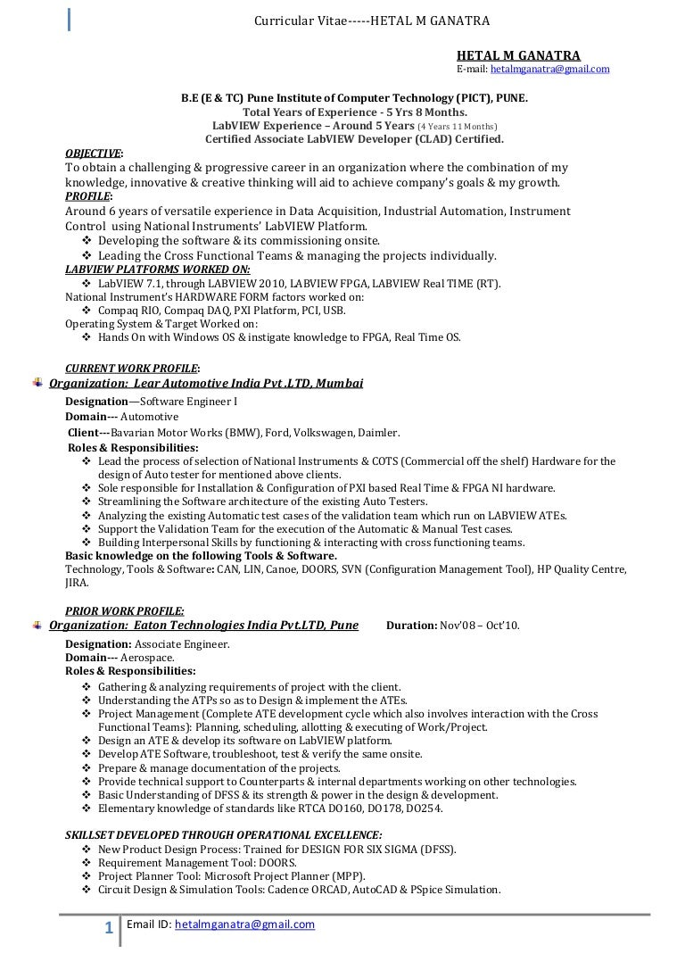 labview developer resume