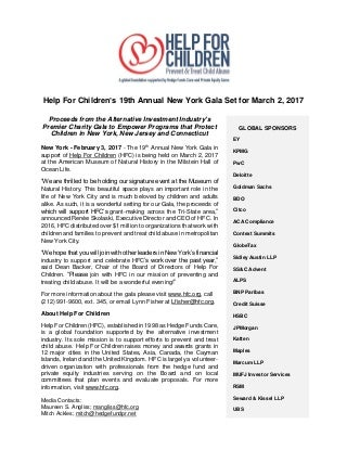 Help For Children's 19th Annual New York Gala Set for March 2, 2017