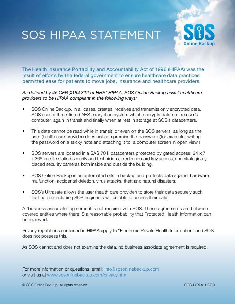 HIPAA Statement SOS Line Backup