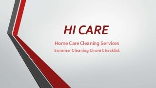 Summer cleaning chore checklist