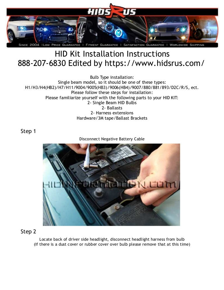 HID Kit installation instructions without relay Hid Wiring Diagram Without Relay on