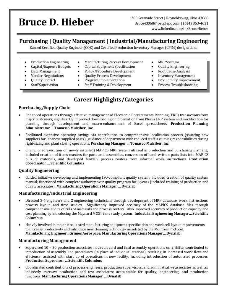 hieber bruce resume - Manufacturing Engineer Resume
