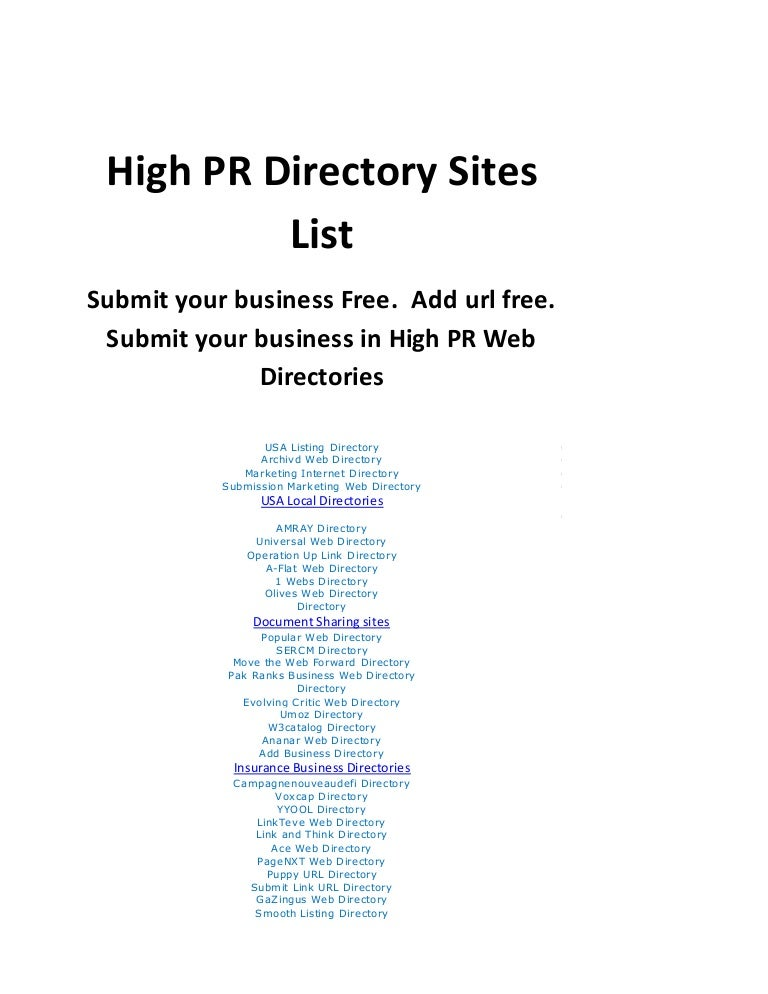 Business Directories List to add or submit your Business Free  High P…