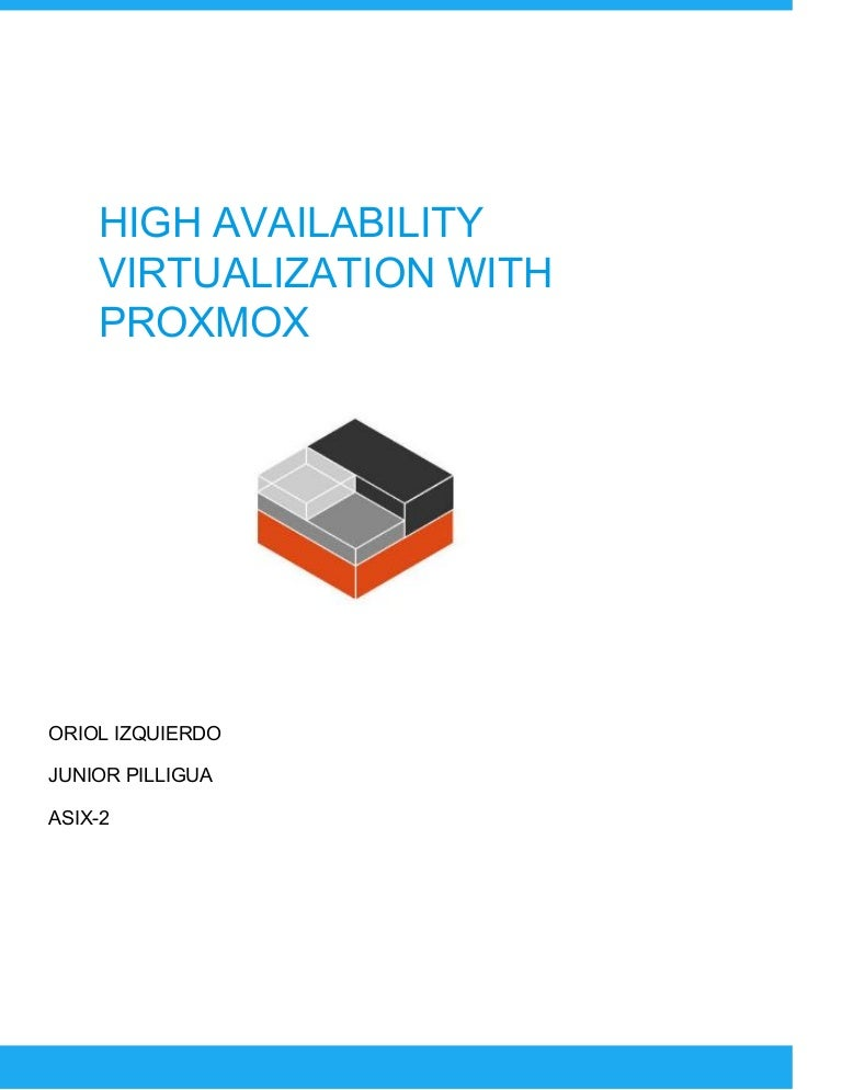 High availability virtualization with proxmox