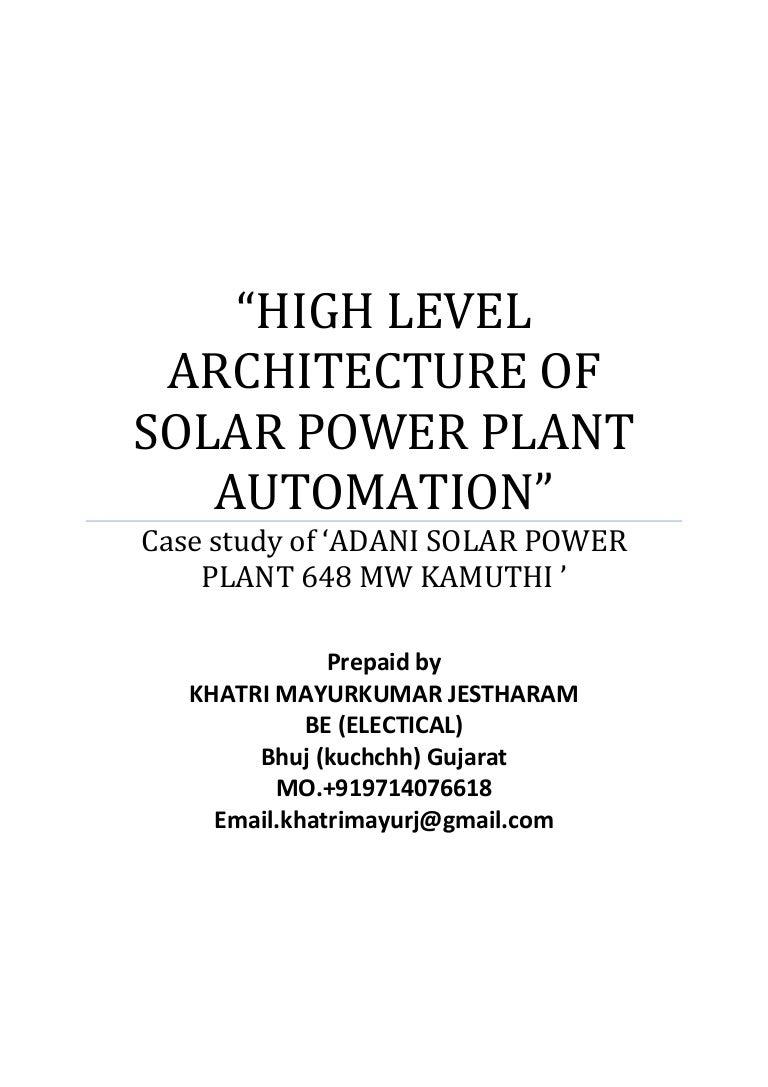 High Level Architecture Solar Power Plant 1 Mw Block Diagram