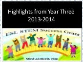 Highlights from the ESL STEM Success Grant, Year 3 (2013-2014)