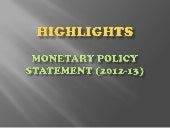 Highlights monetary policy statement 2012 13