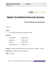 Highly confidential security system  - sole survivors - SRS