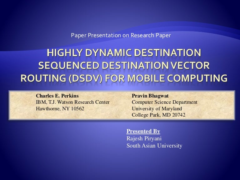 Paper presentation) dsdv.