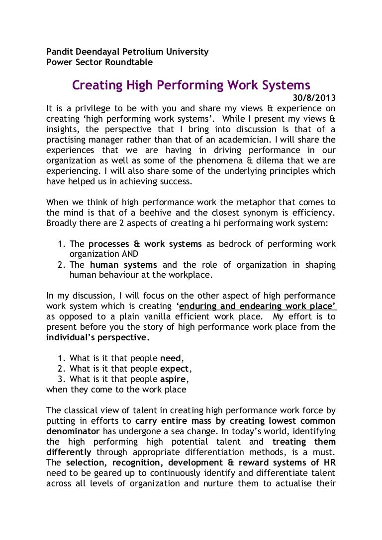 high performance working and competitive advantage