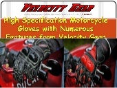 High specification motorcycle gloves with numerous features from velocity gear