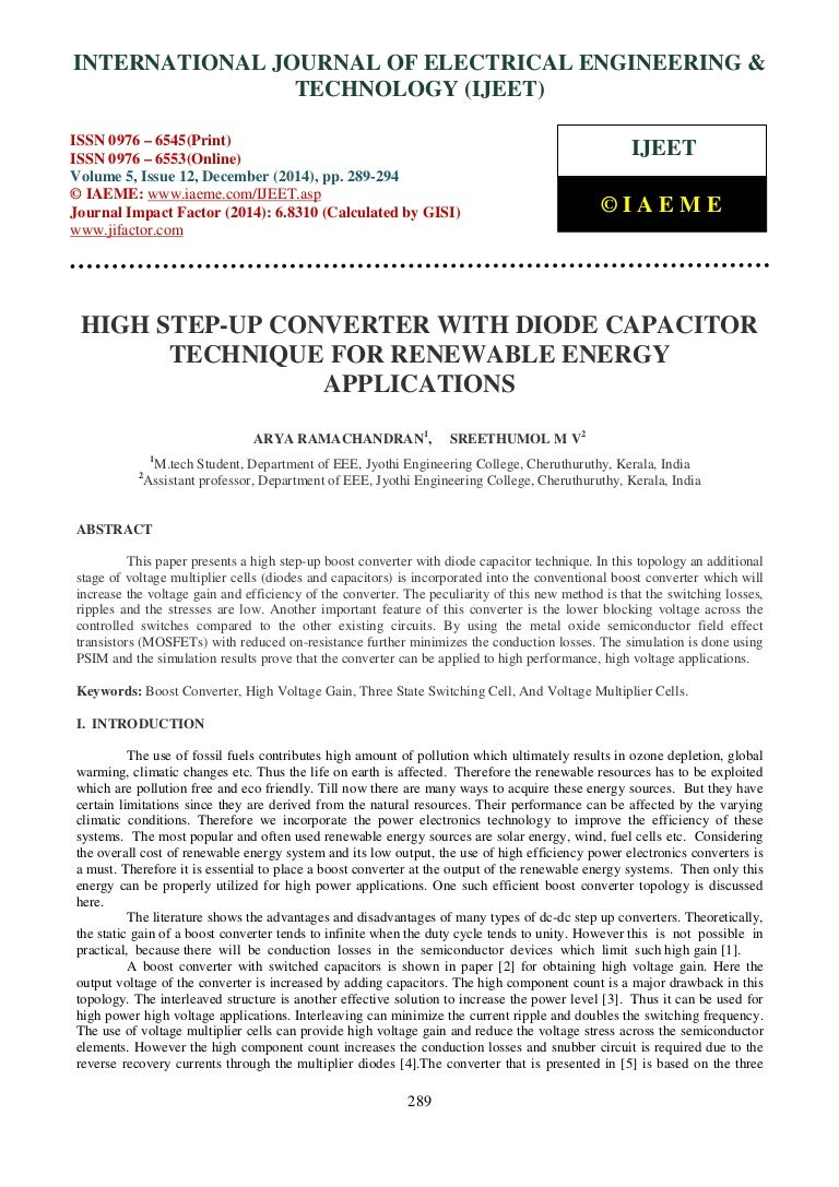 High Step Up Converter With Diode Capacitor Technique For Renewable E Voltage Multiplier Diodes And Capacitors