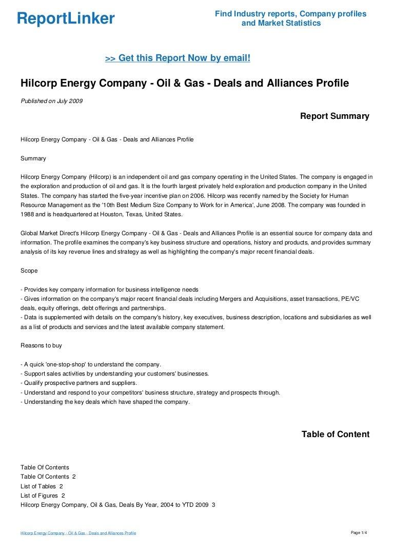 Hilcorp Energy Company - Oil & Gas - Deals and Alliances Profile