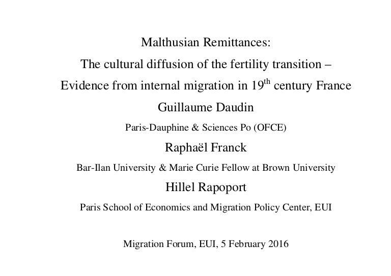 Hillel Rapoport Malthusian Remittances