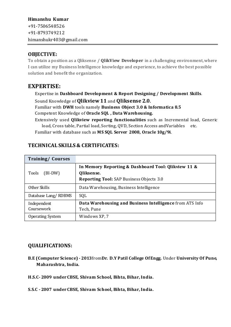 himanshu resume - Business Object Resume