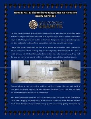 hints for all to choose between granite worktops or quartz worktops