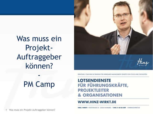 PM Camp Was muss ein PM Auftraggeber können?