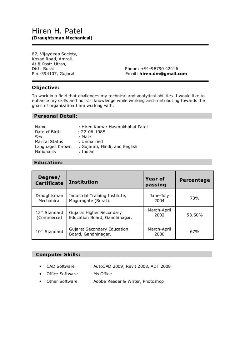 Resume Format For 12th Pass 12th Pass Cv