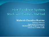 Hire purchase system   stock and debtors method