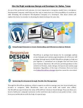 Hire the right wordpress developer and designer for dallas