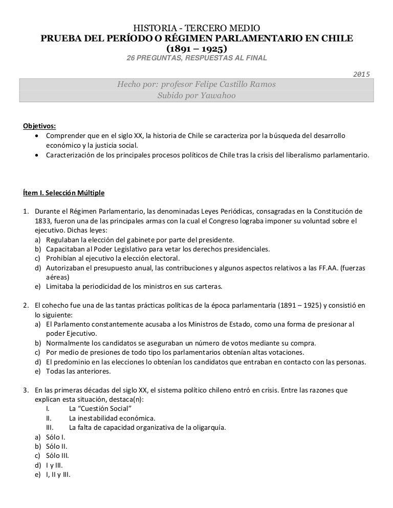 Historia De Chile 3 Medio Prueba Del Periodo Parlamentario 1891