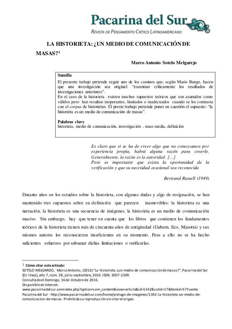La Historieta: ¿Un medio de comunicación de masas? - Investigación