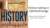 History taking in ophalmology