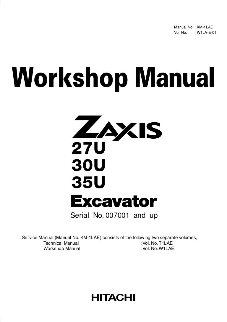 Hitachi zaxis 30 u excavator service repair manual