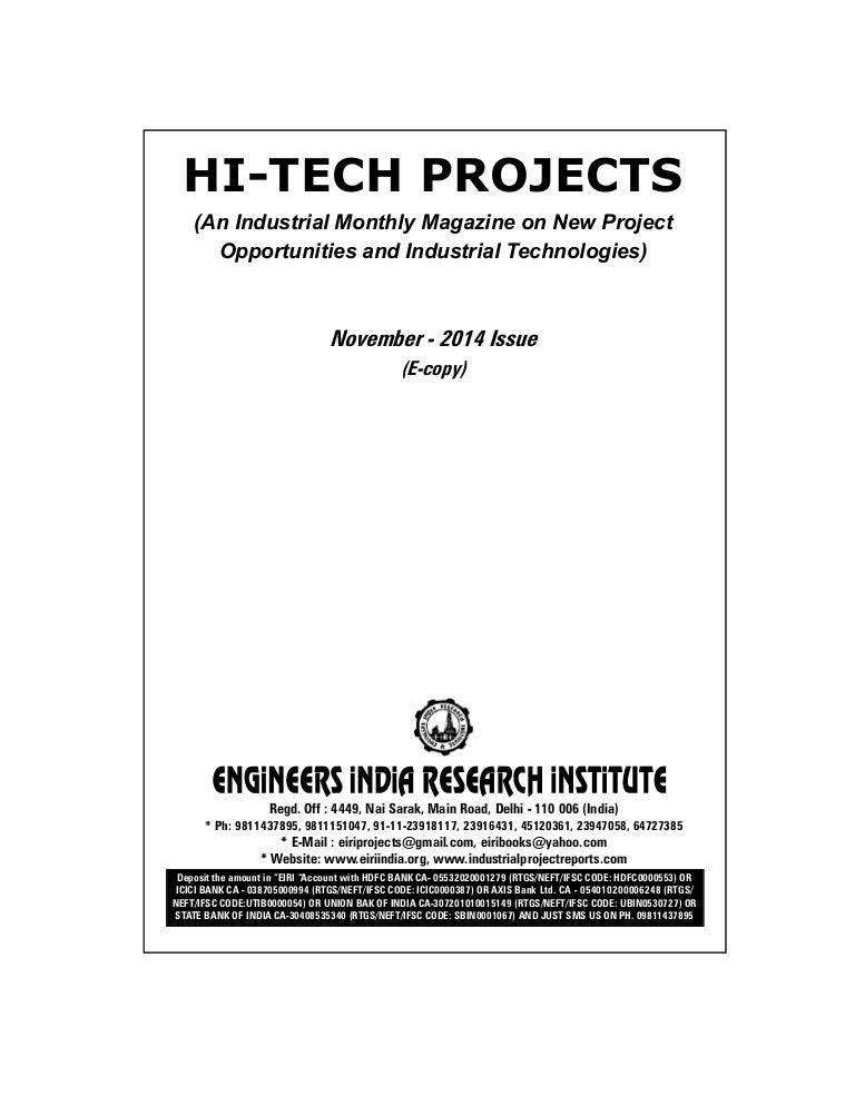 Project Reports To Start New Industry Technology Magazine November