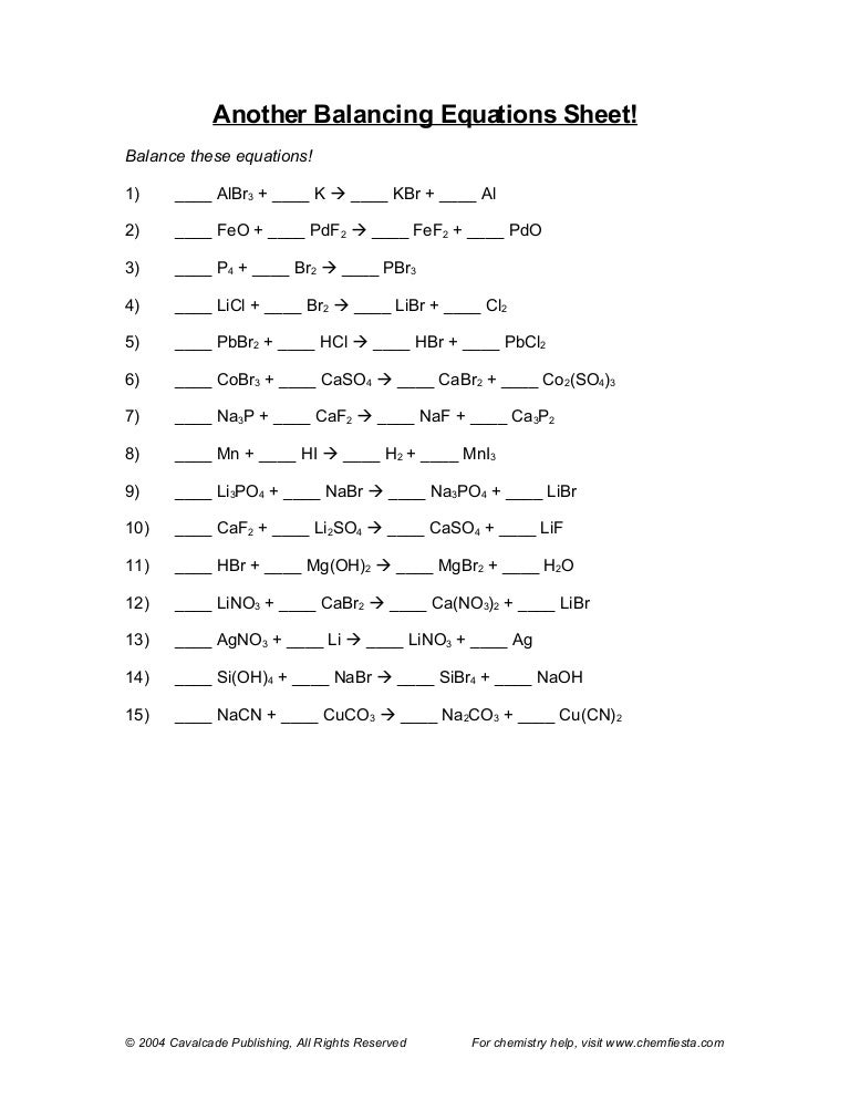 Pictures Chemfiesta Balancing Equations Worksheet - Toribeedesign