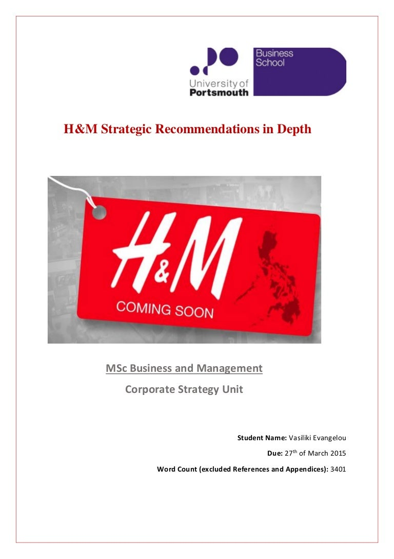 h m strategic recommendations in depth