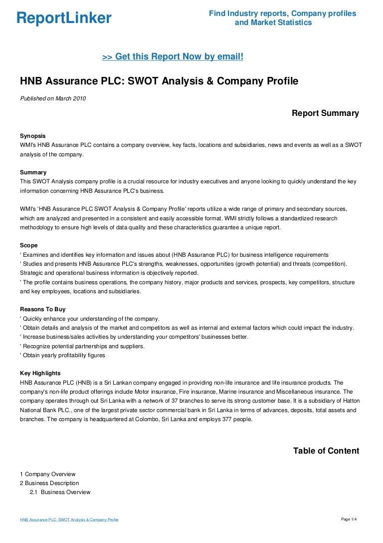 HNB Assurance PLC: SWOT Analysis & Company Profile