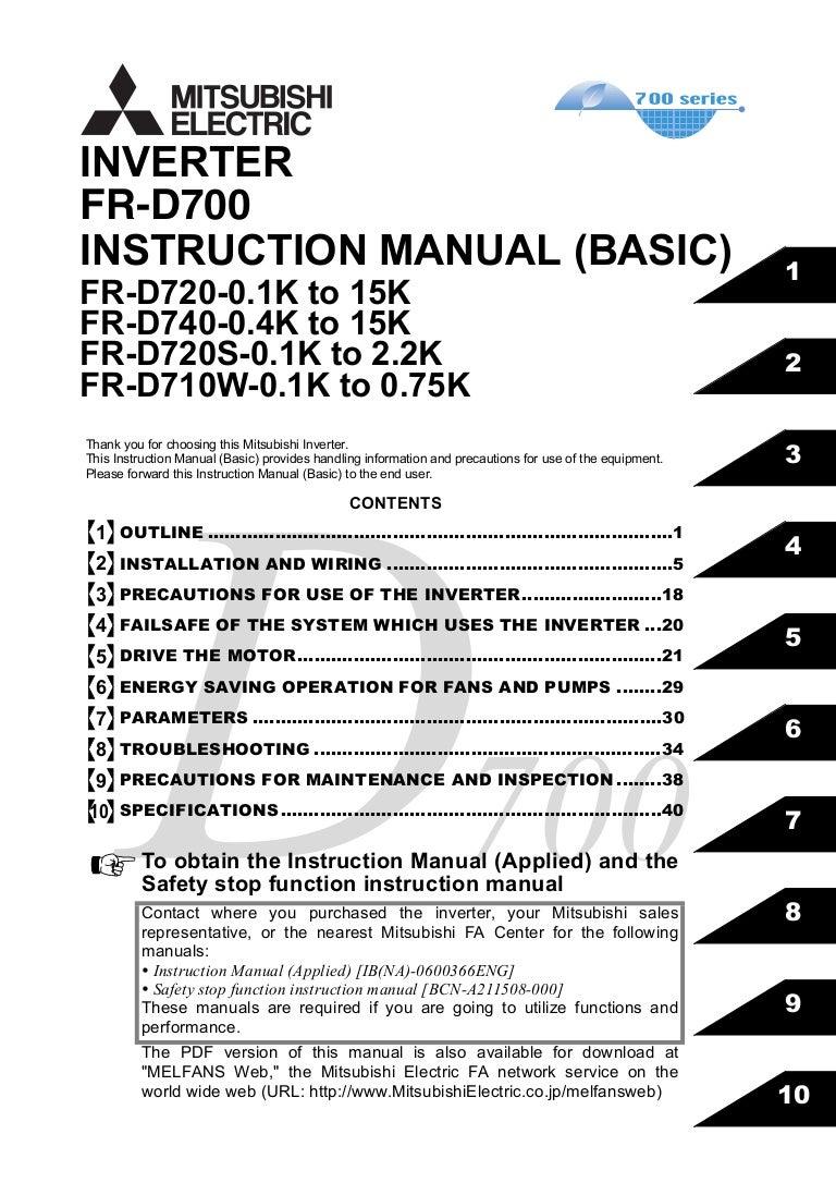 h ng d n s d ng bi n t n rh slideshare net manuel mitsubishi fr-d740 mitsubishi fr-d740 user manual