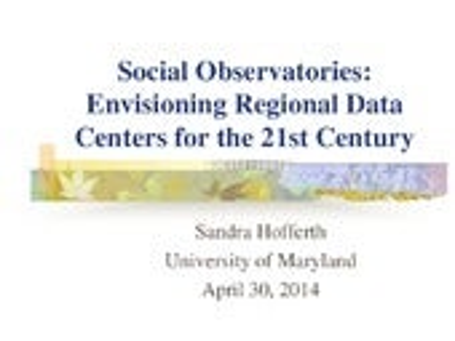 APLIC 2014 - Social Observatories Coordinating Network