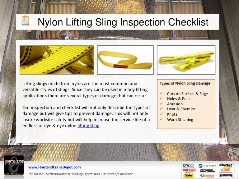 Nylon Web Slings Inspection Checklist