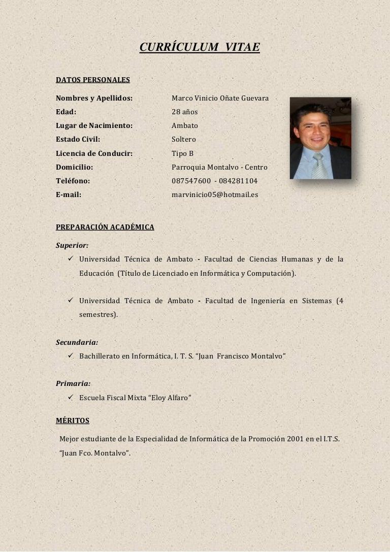Magnífico Ejemplos De Currículum Universitario Para Estudiantes De ...