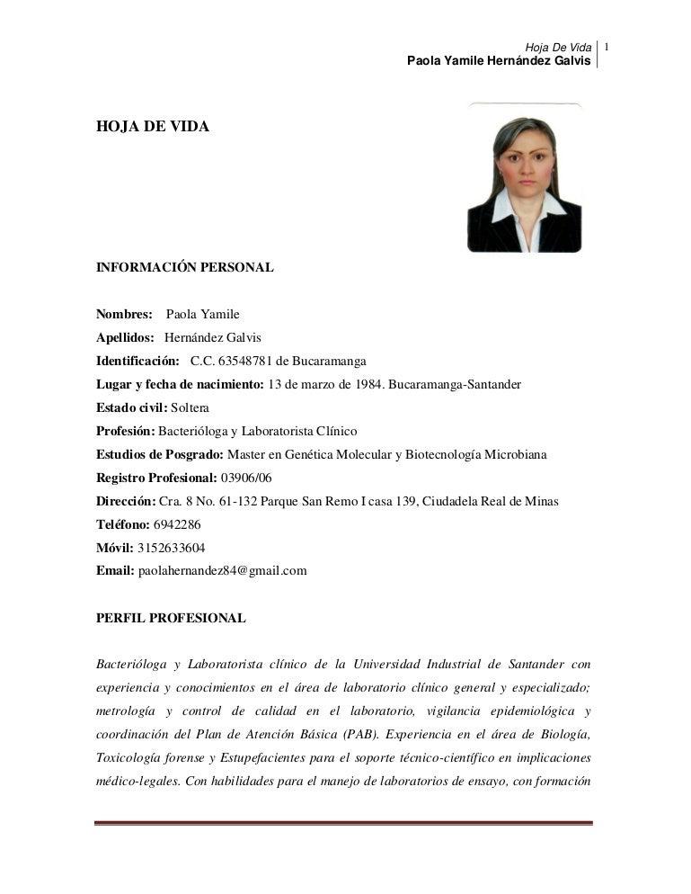 Hoja de vida Paola Hernández Galvis