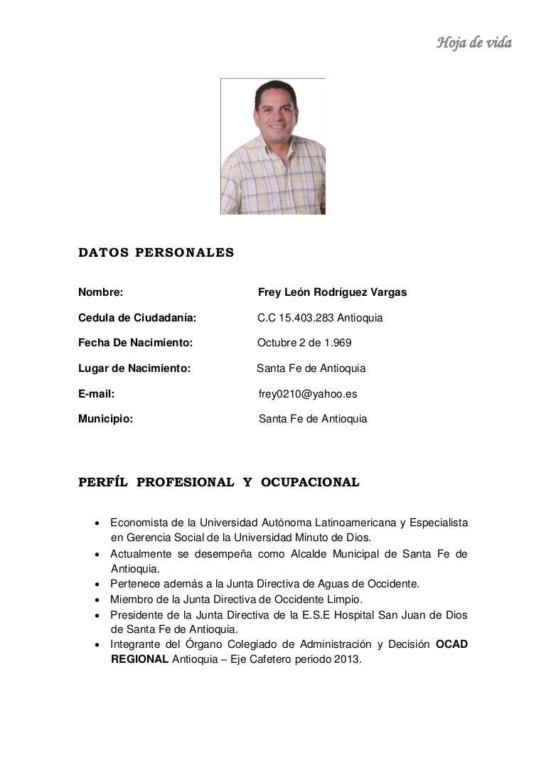HOJA DE VIDA FREY LEÓN RODRÍGUEZ VARGAS 2013