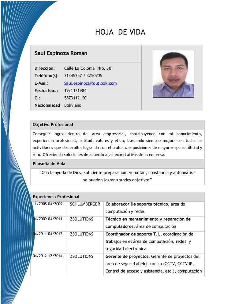 Hoja De Vida Saul Espinoza Roman 2014 Sc Bolivia