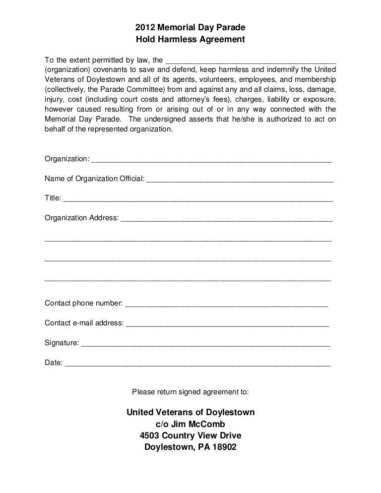 Hold Harmless Agreement Pdf Kubreforic