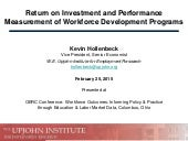 Return on Investment and Performance Measurement of Workforce Development Programs
