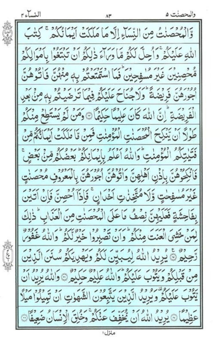 Holy Quran | Para 5 | وَالْمُحْصَنَاتُ | PDF (قرآن پارہ ٥)