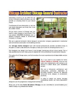 Home Decorators & Interior Design In Chicago
