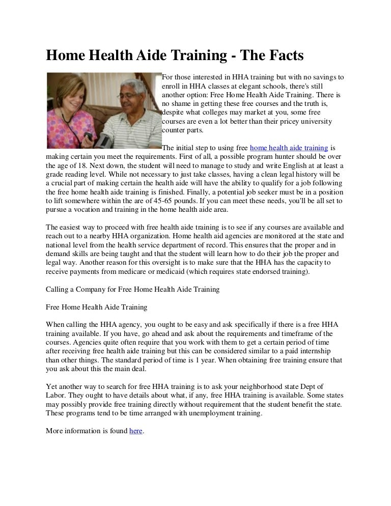 home health aide training the facts