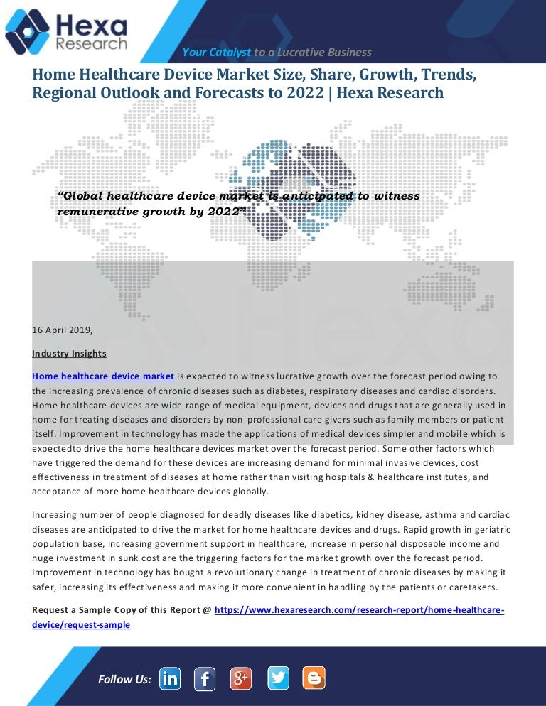 Home Healthcare Device Industry Statistics and Trends, 2015