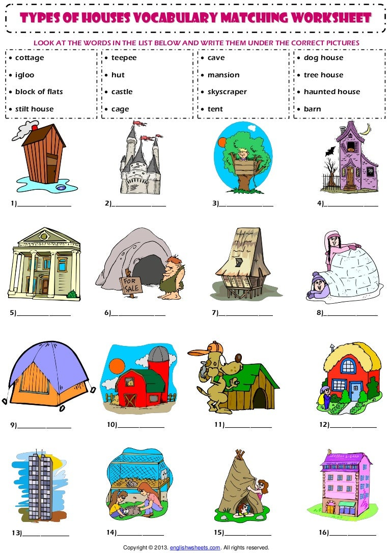 Home house types vocabulary matching exercise worksheet for Kinds of houses